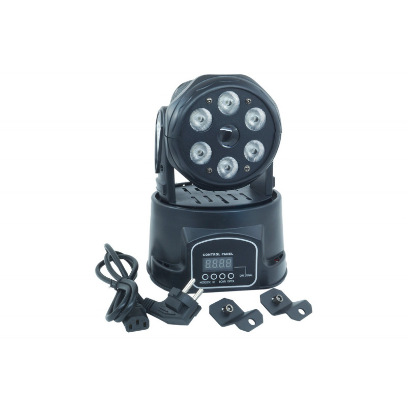 TESTA MOBILE ROTANTE MINI FARO 7 LED RGBW EFFETTI DISCO DJ LUCE FLASH STROBO